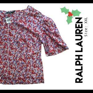 RALPH LAUREN floral lightweight blouse NWT